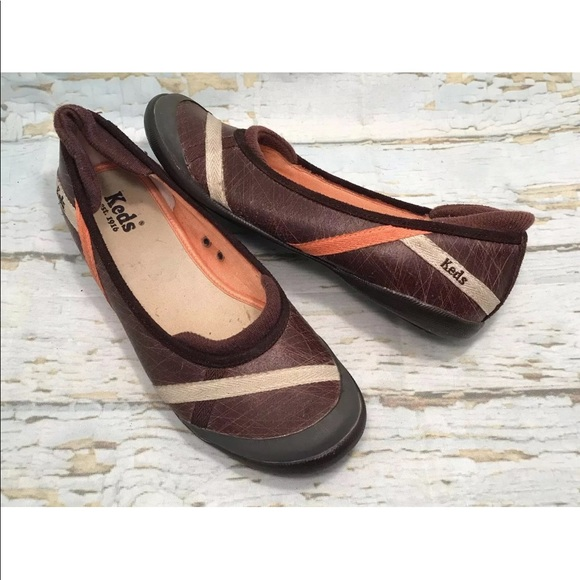 3 Keds Brown Leather Slip On Walking Shoe 6.5 Brown Leather Keds Shoes